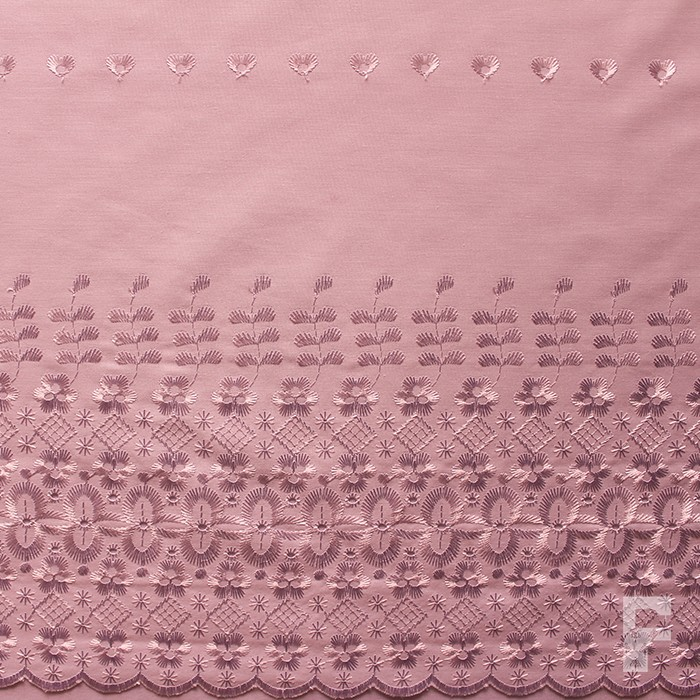 Double Border Embroidered Scalloped Edge Fabric The