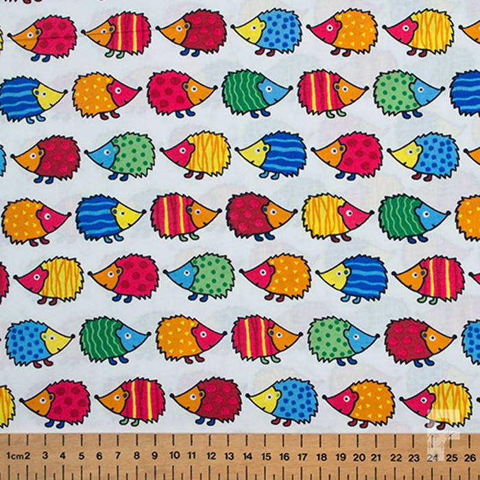 Printed Cotton Fabric Happy Hedgehog The Fabric Centre
